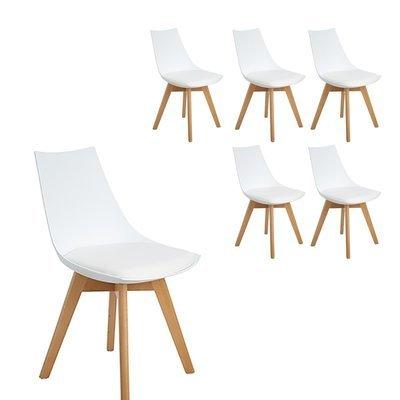 Lot de 6 chaises scandinaves Célina BLANCHES