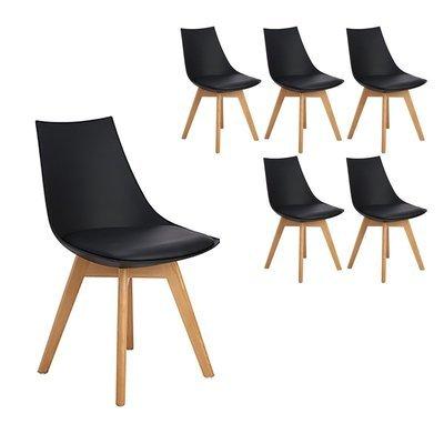 Lot de 6 chaises scandinaves Célina NOIRES