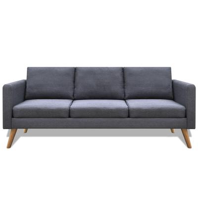 Canapé 3 places en tissu gris foncé