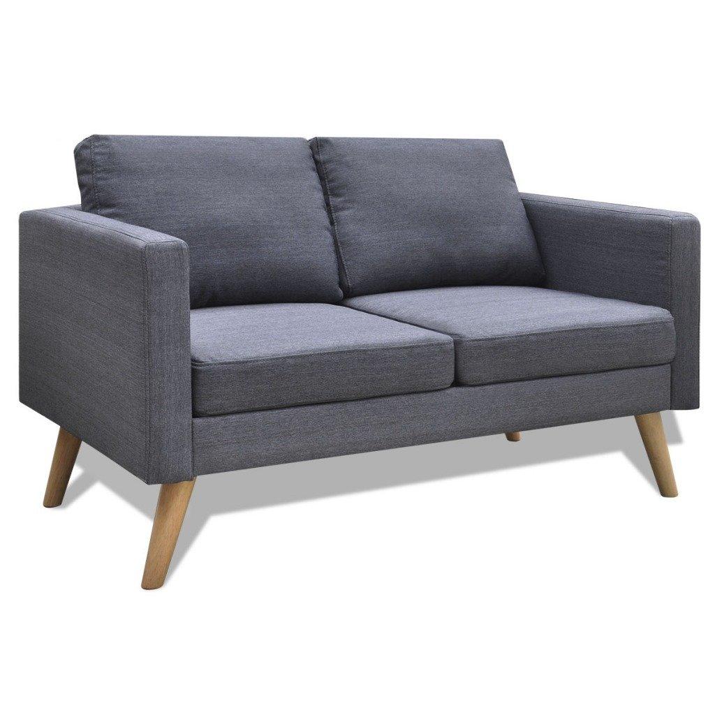 Canapé 2 places en tissu gris foncé