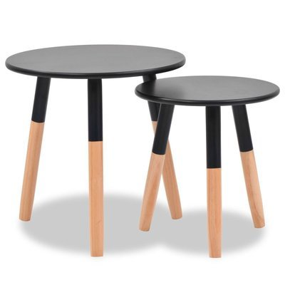 Set de 2 tables d'appoint au bois de pin massif NOIRES