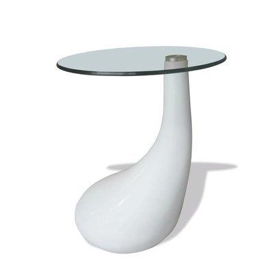 Table basse avec dessus de table en verre rond blanc brillant