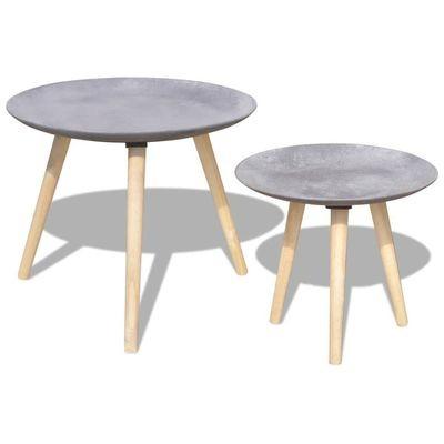 Set de 2 tables gris cément BUMEO