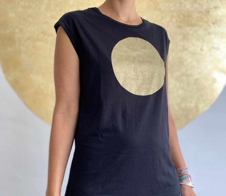 BE GOLDEN by The Lovers, Sleeveless T-shirt schwarz / Druck gold