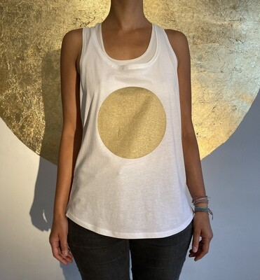 BE GOLDEN by The Lovers, Tanktop - weiß / Druck gold