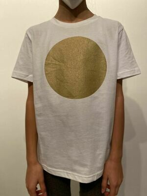 BE GOLDEN by The Lovers, Kinder T-shirt weiß / Druck gold