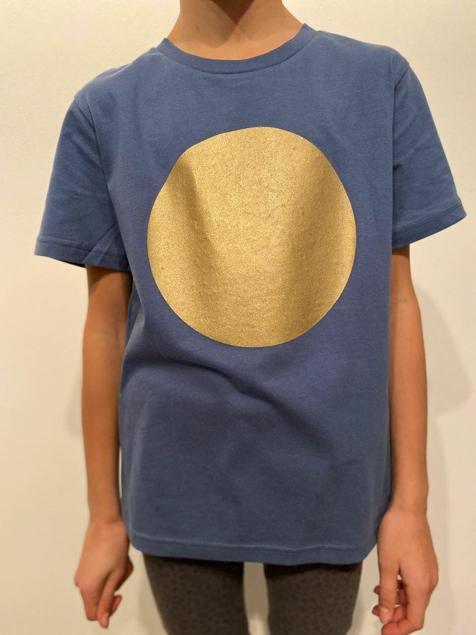 BE GOLDEN by The Lovers, Kinder T-shirt denim / Druck gold