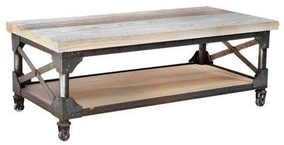 Iron Works Coffee Table with shelf by Ruff Sawn