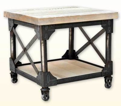 Ruff Sawn Iron Works End Table with Shelf