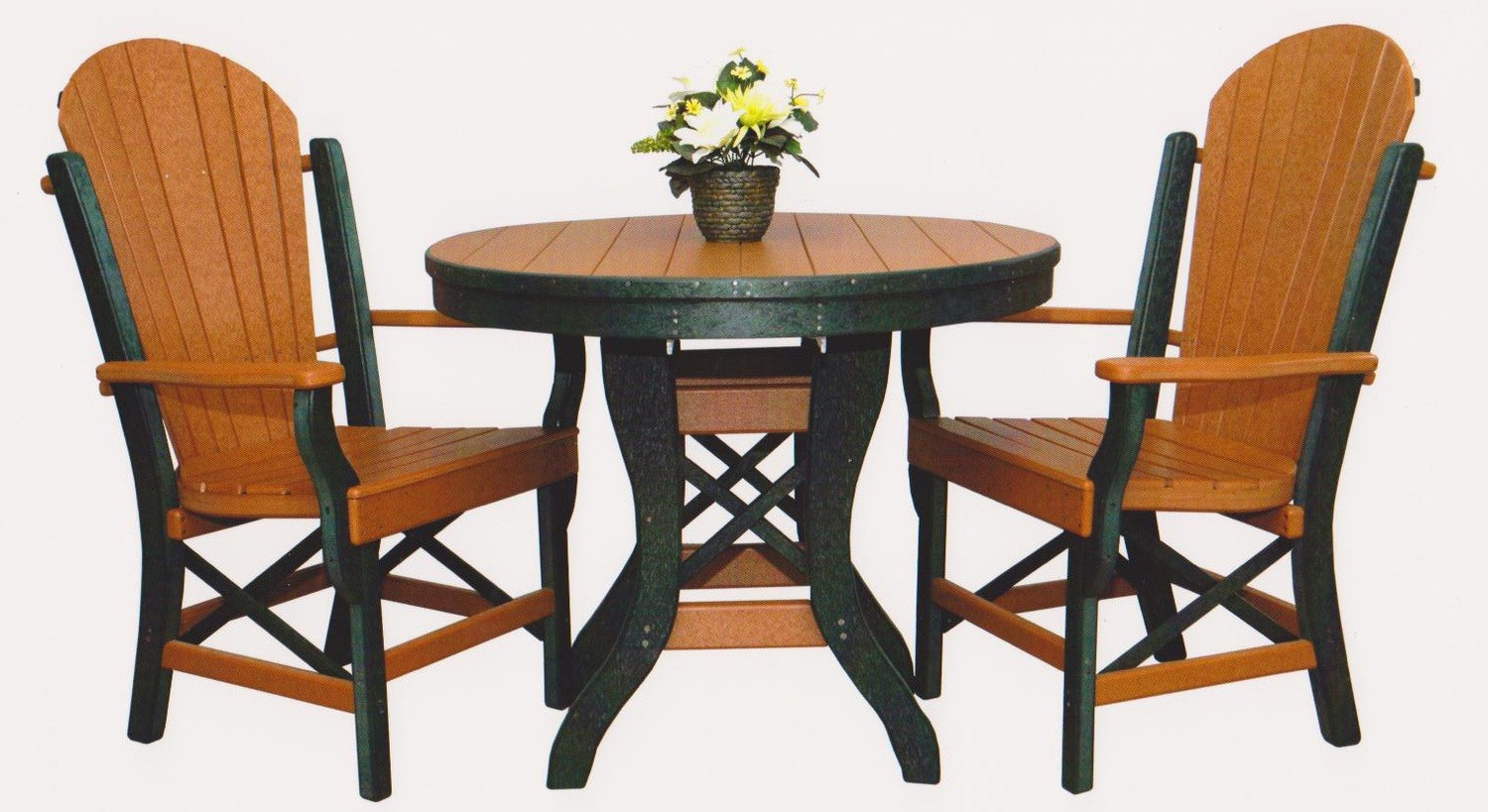 """Byler's Outdoor 36"""" Round Table & 2 Fan Back Arm Chairs."""