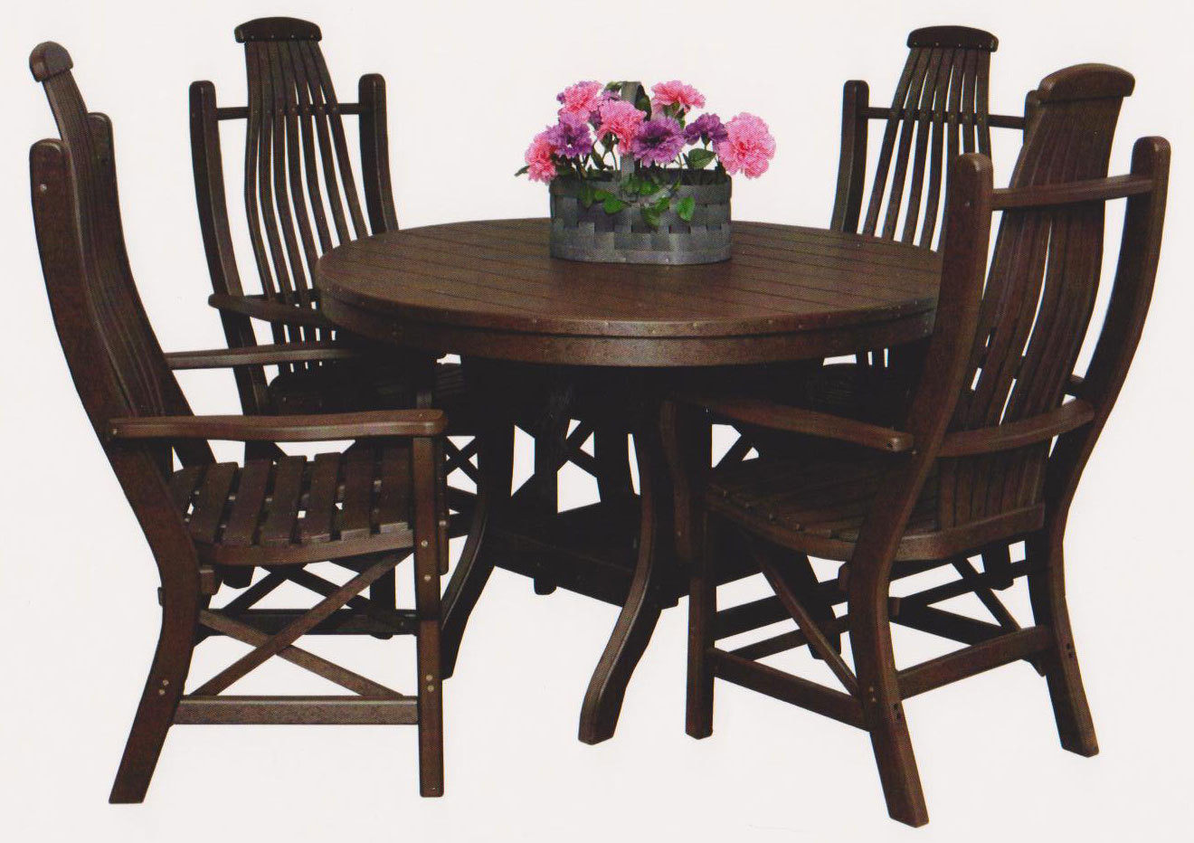 "Polylumber 44"" Round Table & 4 Bentwood Arm Chairs Byler's Outdoor"