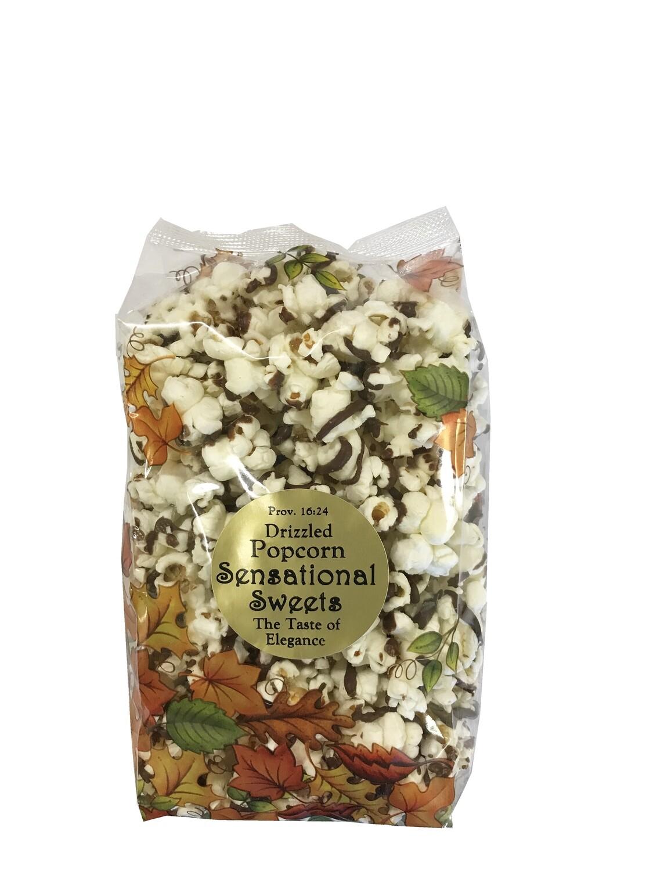 Gourmet Chocolate Drizzed Popcorn 3oz. Leaf Bag