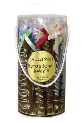 Gourmet Pretzel Rods (28 Pieces Wrapped & Bowed in Cylinder 5