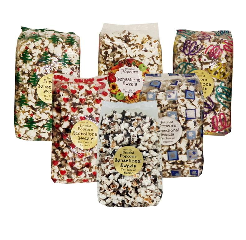 Gourmet Chocolate Drizzled Popcorn (3 oz. Bag)