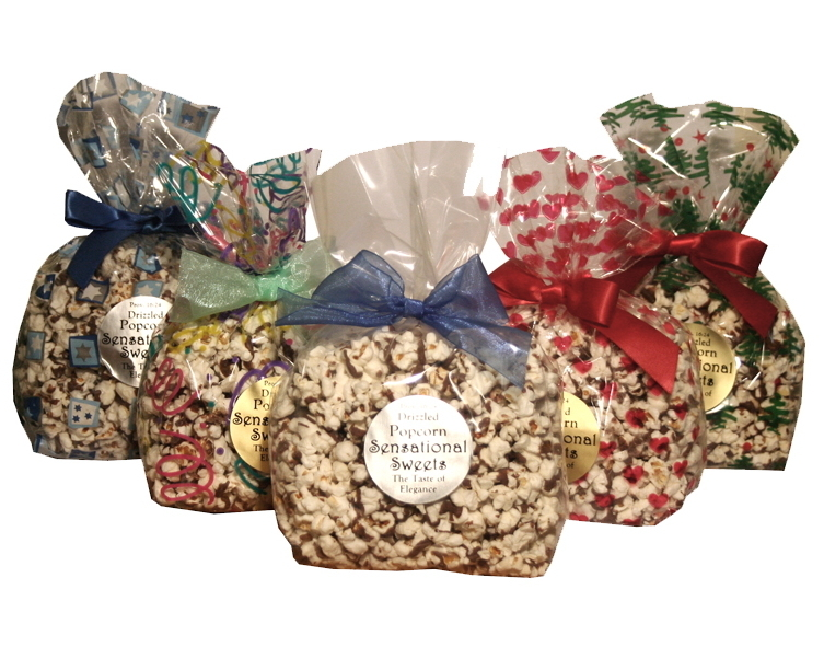 Gourmet Chocolate Drizzled Popcorn (3 oz. Bag With Bow)