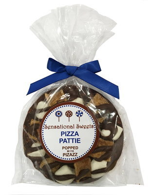 Gourmet Chocolate Pizza Pattie (S'Mores) shown with LB Label
