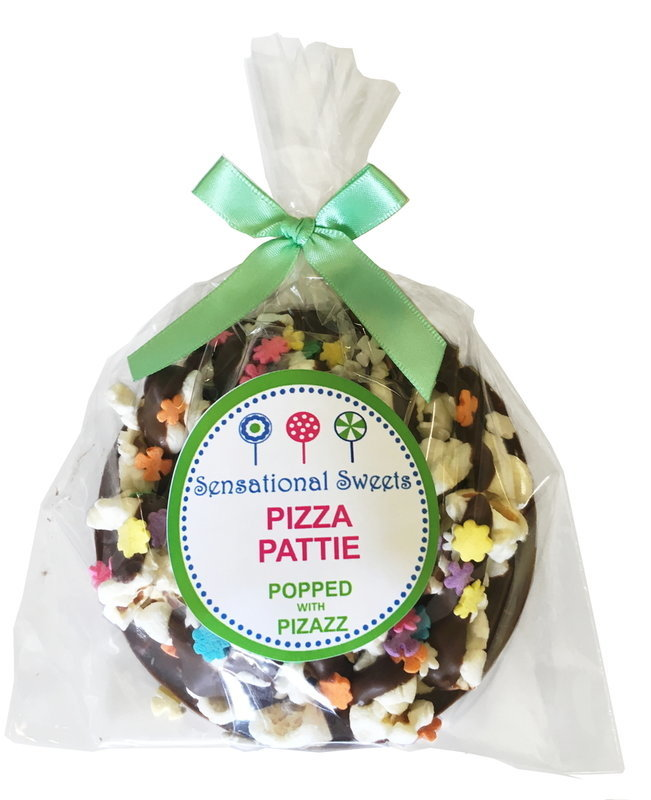 Gourmet Chocolate Pizza Pattie (Decorated) Shown with L/P Label