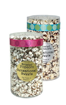 Gourmet Chocolate Drizzled Popcorn (1/2 lb. Tube With Ribbon)