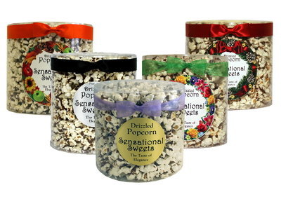 Gourmet Chocolate Drizzled Popcorn (7 oz. Tub With Bow )