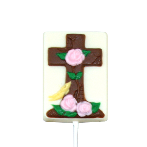 Chocolate Lollipops - Pollylops® - Cross With Roses