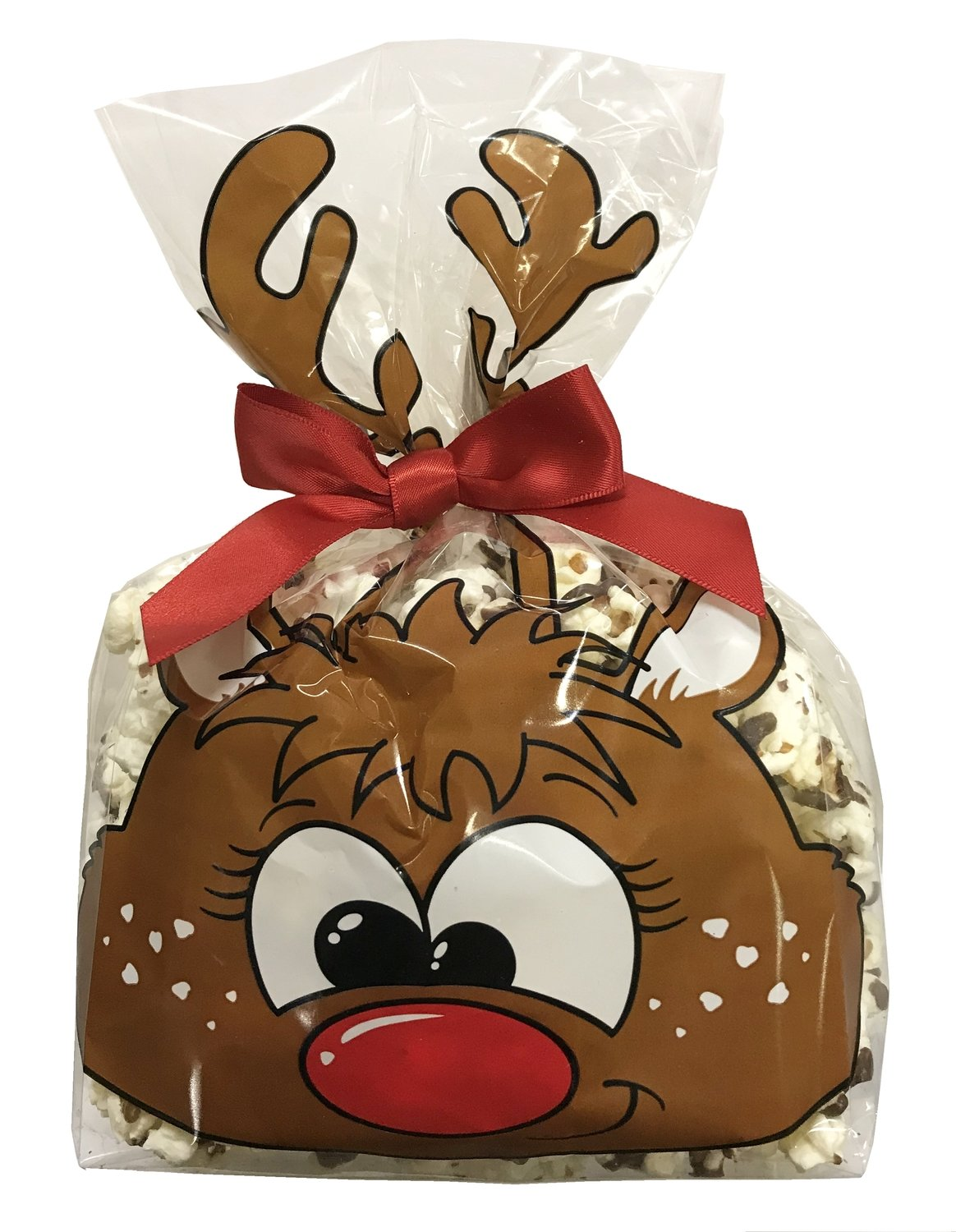 Gourmet Chocolate Drizzled Popcorn 3 oz. Reindeer Bag w/bow