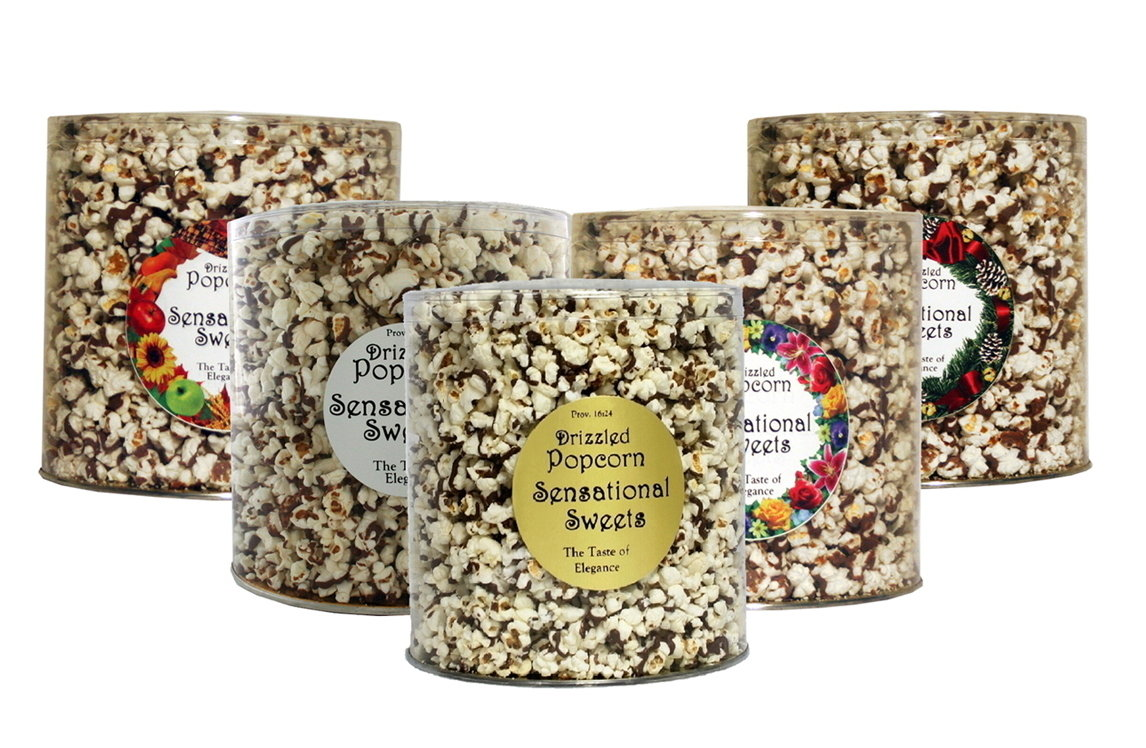 Gourmet Chocolate Drizzled Popcorn (14 oz. Large Tub )