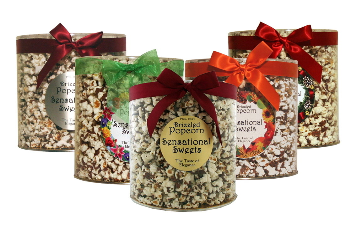 Gourmet Chocolate Drizzled Popcorn (14 oz. Tub With Bow)