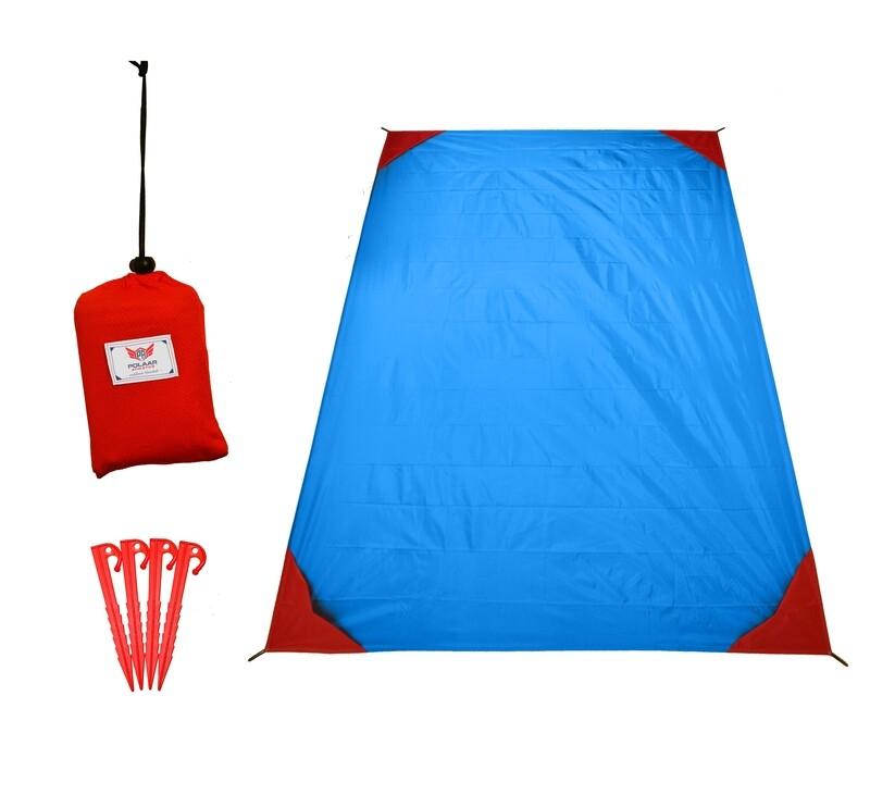 XL Outdoor-, Picknickdecke und Stranddecke, wasserdicht, ultraleicht, 200 cm x 150 cm, mit Heringen