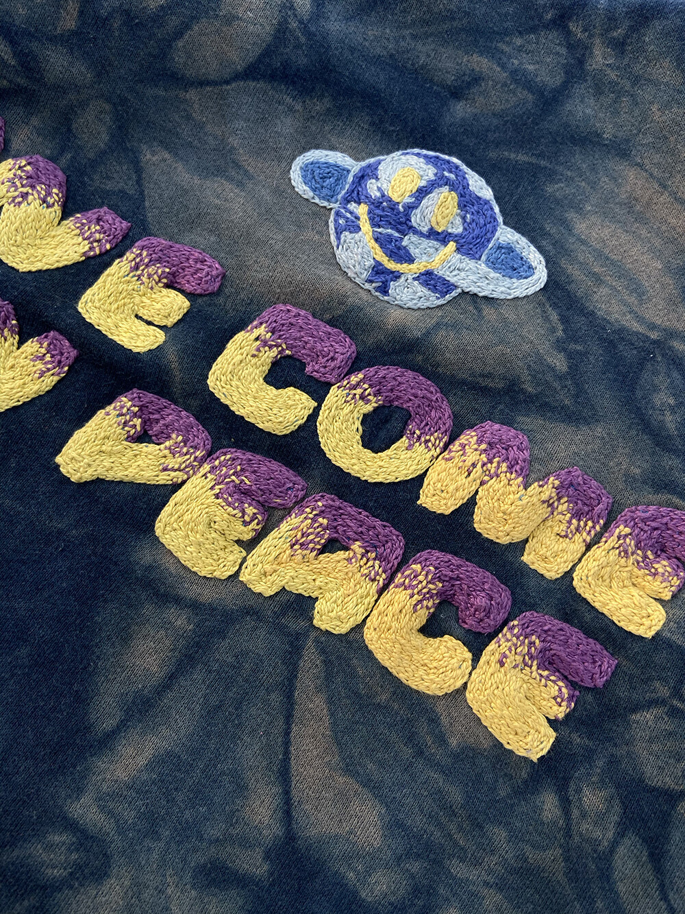 W'MENSWEAR 'We Come in Peace' Hand Embroidered, Indigo Sweatshirt