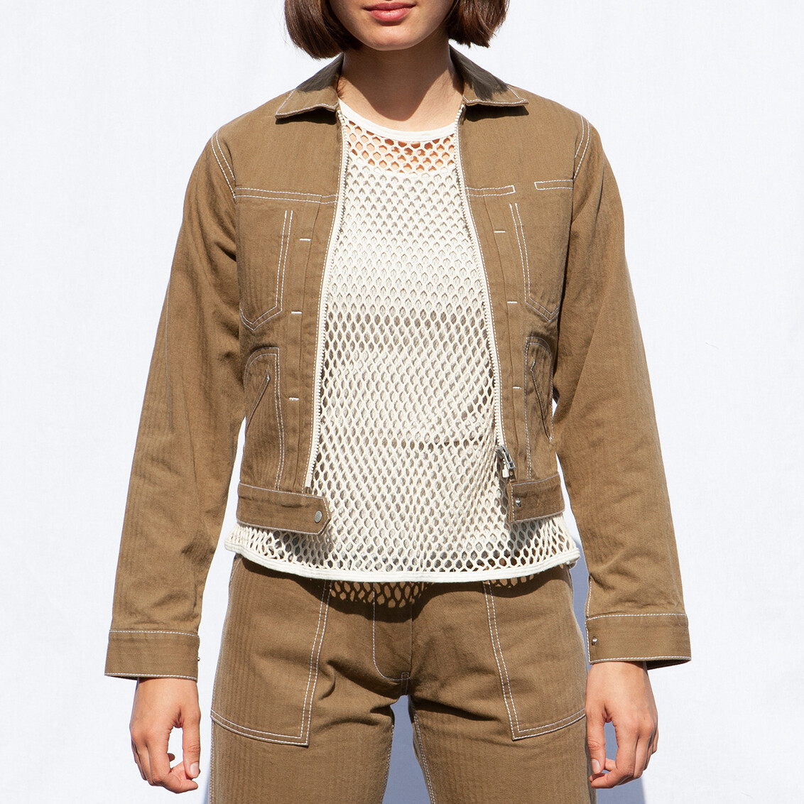 W'MENSWEAR ENGINEER'S JACKET IN BEIGE