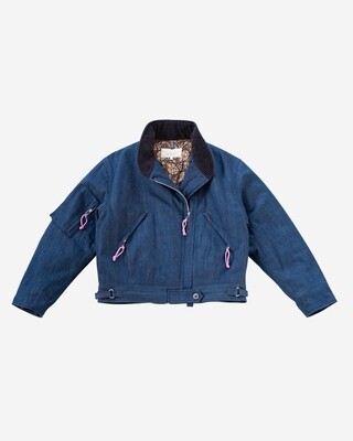 W'MENSWEAR CAT FLIGHT JACKET IN DENIM