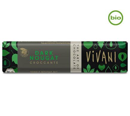 """Vivani DARK NOUGAT """"CROCCANTE"""" chocolate bar with Hazelnut Brittle, organic, 35g"""