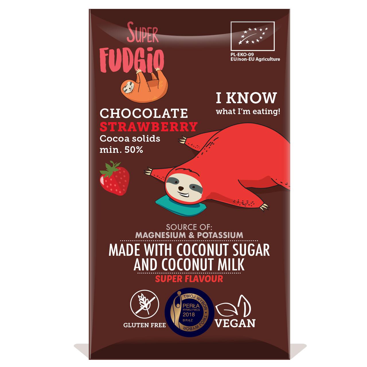 Super Fudgio Organic Strawberry Chocolate 80g!