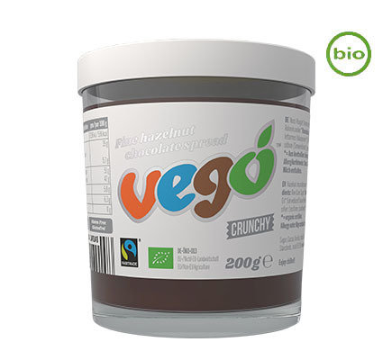 VEGO FINE-HAZELNUT Vegan chocolate spread - crunchy, organic, fairtrade 200g