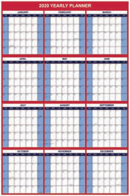 """2020 Wall Calendar, Vertical Dry Erase Office Calendar, Yearly Planner, Large 24""""x36"""""""