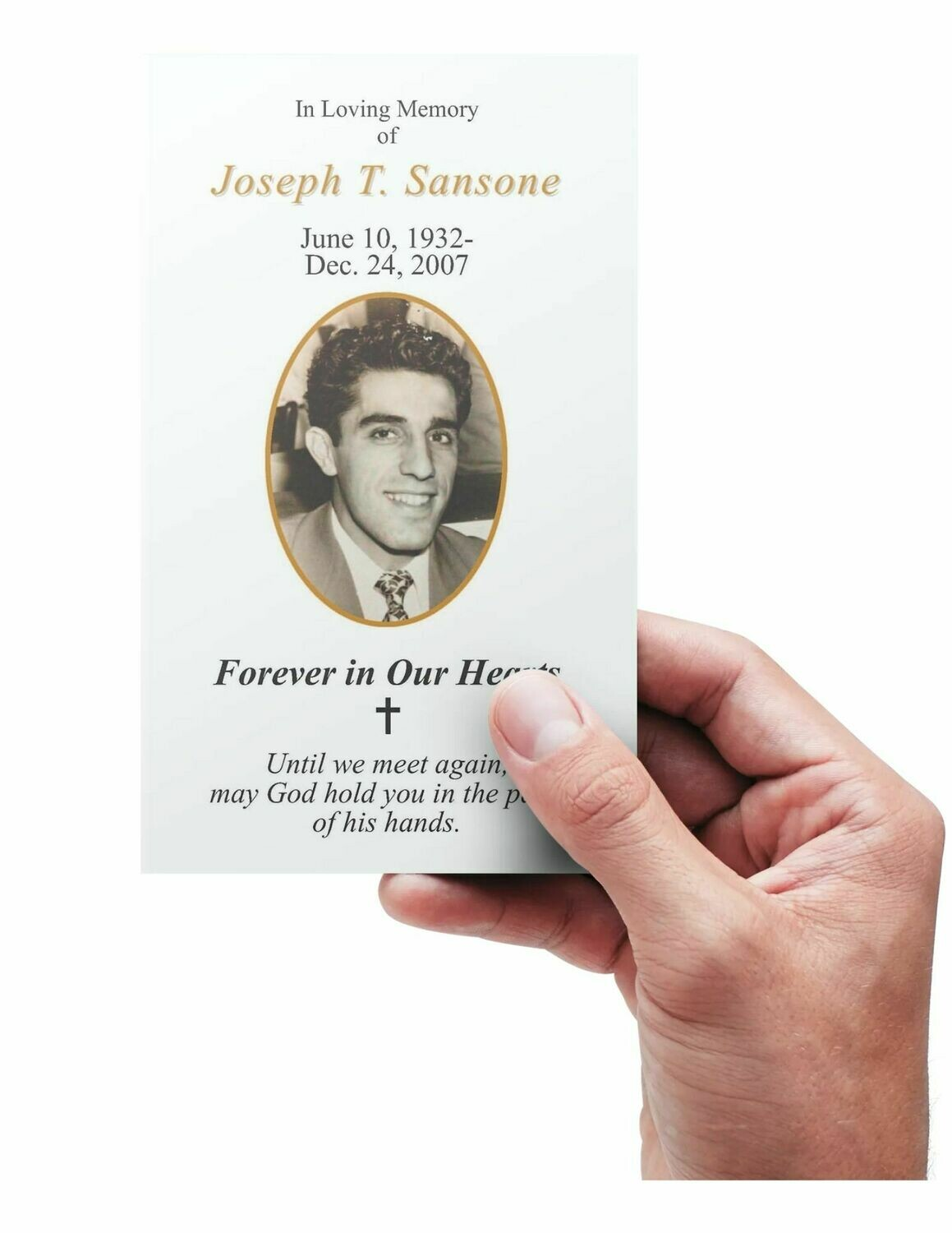 Funeral Memorial Prayer Cards - Custom Personalized Photo and Prayer - Forever in Our Hearts