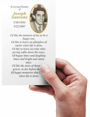 Funeral Memorial Prayer Cards - Custom Personalized Photo and Prayer - Oval 1-Side