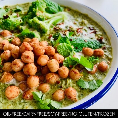 Minty Green Soup with Spiced Chickpeas