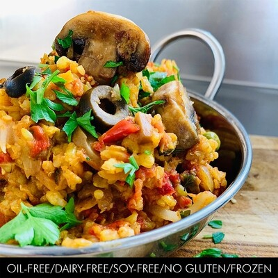 Paella with Mushrooms, Black Olives & Sundried Tomatoes
