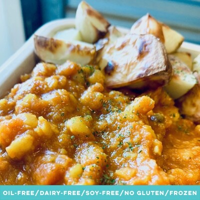 Coconut & Yellow Peas Dahl with Roast Potatoes