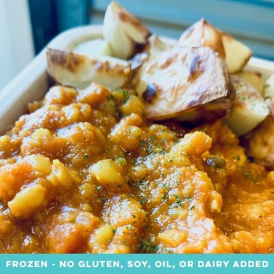 Coconut & Yellow Peas Dahl with Roast Potatoes
