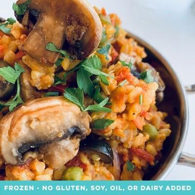 Paella with Mushrooms, Black Olives & Sundried Tomatoes