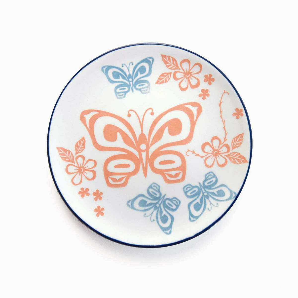 Porcelain Art Plate - Butterfly and Wild Rose