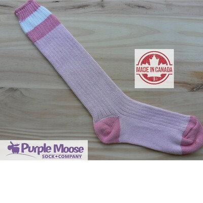 3 Stripe Over the Calf Cotton Sock - Pink Heather/Pink