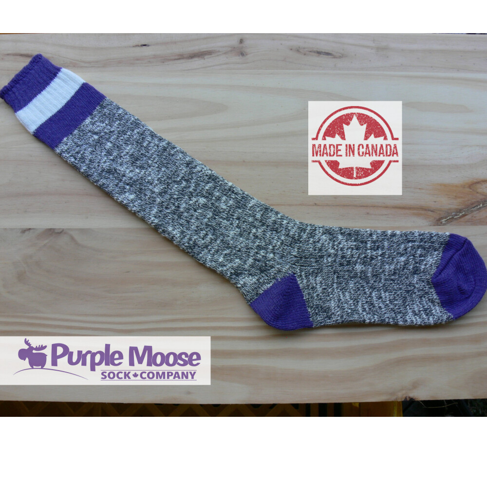 3 Stripe Knee High - Grey Slub/Purple