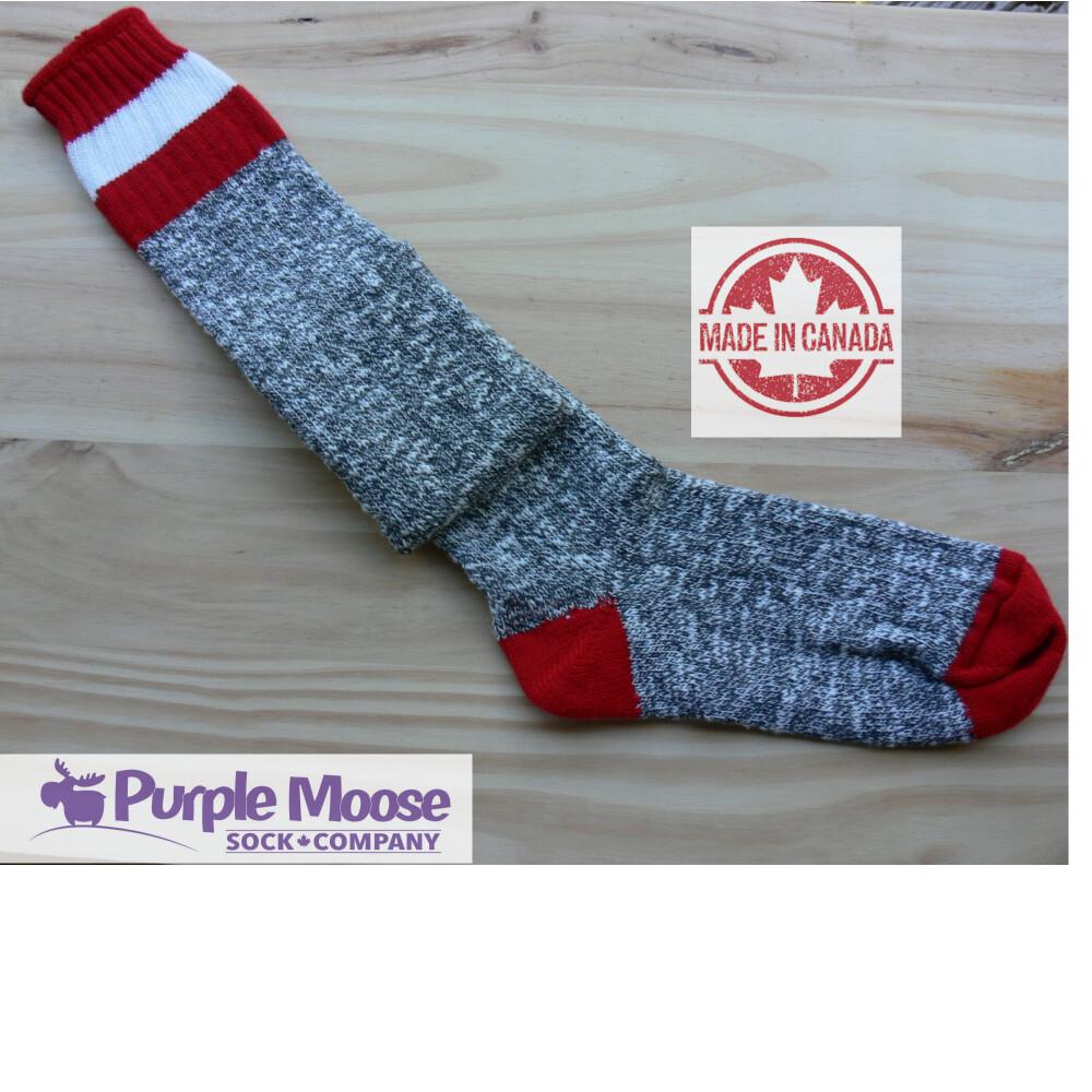 3 Stripe Over the Knee - Grey Slub/Red