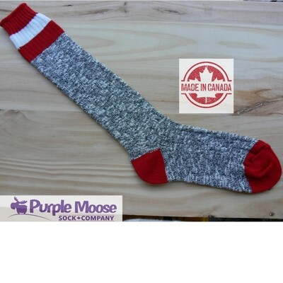 3 Stripe Over the Calf Cotton Sock - Grey Slub/Red