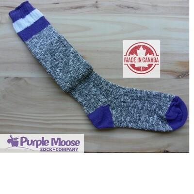 3 Stripe Over the Knee - Grey Slub/Purple