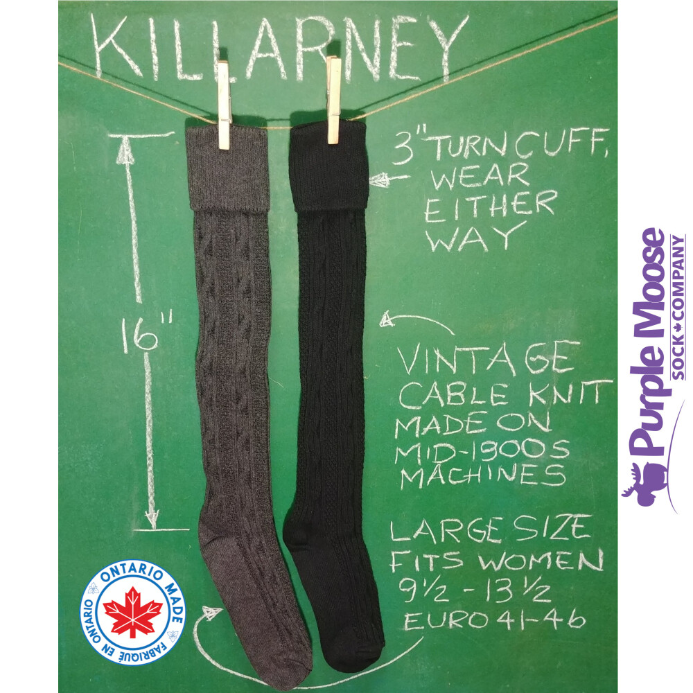 Killarney Cable Knit Turn Cuff Knee High