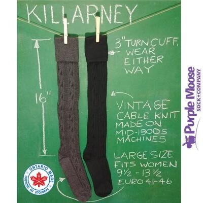 Killarney Cable Knit Turn Cuff Knee High